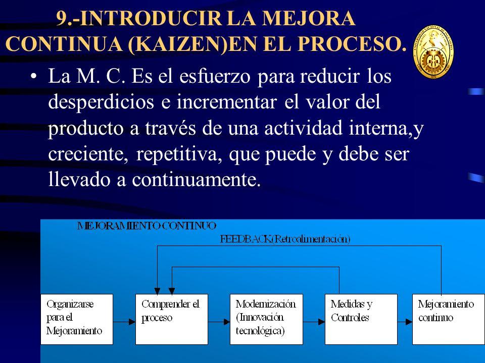 wrcastillejo@terra.com.pe 9.-INTRODUCIR LA MEJORA CONTINUA (KAIZEN)EN EL PROCESO. La M. C. Es el esfuerzo para reducir los desperdicios e incrementar
