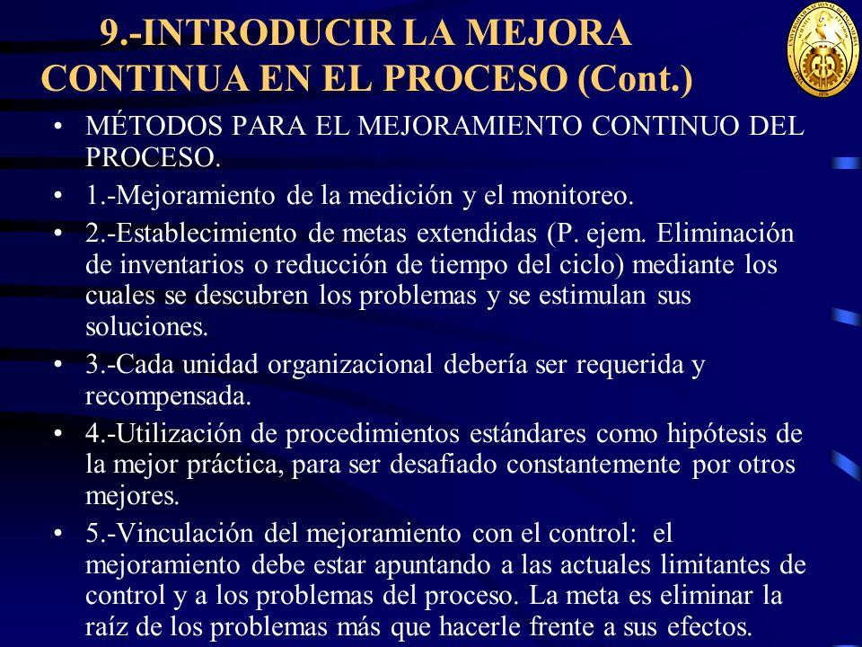 9.-INTRODUCIR LA MEJORA CONTINUA EN EL PROCESO (Cont.) MÉTODOS PARA EL MEJORAMIENTO CONTINUO DEL PROCESO. 1.-Mejoramiento de la medición y el monitore