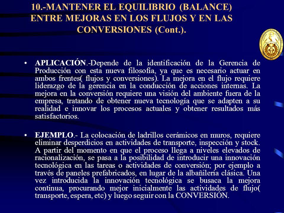 10.-MANTENER EL EQUILIBRIO (BALANCE) ENTRE MEJORAS EN LOS FLUJOS Y EN LAS CONVERSIONES (Cont.). APLICACIÓN.-Depende de la identificación de la Gerenci
