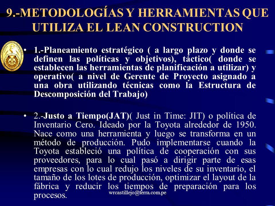 9.-METODOLOGÍAS Y HERRAMIENTAS QUE UTILIZA EL LEAN CONSTRUCTION 1.-Planeamiento estratégico ( a largo plazo y donde se definen las políticas y objetiv