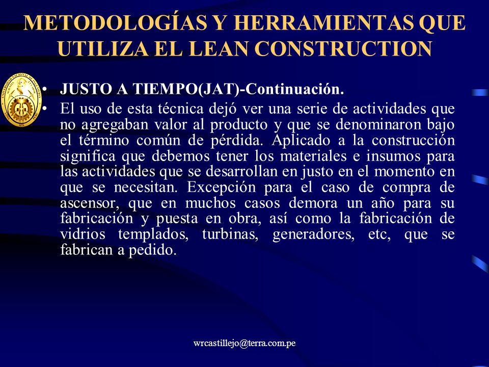 wrcastillejo@terra.com.pe METODOLOGÍAS Y HERRAMIENTAS QUE UTILIZA EL LEAN CONSTRUCTION JUSTO A TIEMPO(JAT)-Continuación. El uso de esta técnica dejó v
