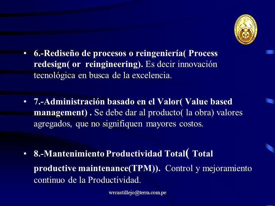 wrcastillejo@terra.com.pe 6.-Rediseño de procesos o reingeniería( Process redesign( or reingineering). Es decir innovación tecnológica en busca de la