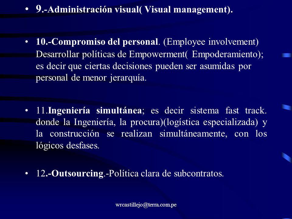 wrcastillejo@terra.com.pe 9.-Administración visual( Visual management). 10.-Compromiso del personal. (Employee involvement) Desarrollar políticas de E