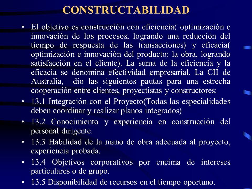 CONSTRUCTABILIDAD El objetivo es construcción con eficiencia( optimización e innovación de los procesos, logrando una reducción del tiempo de respuest