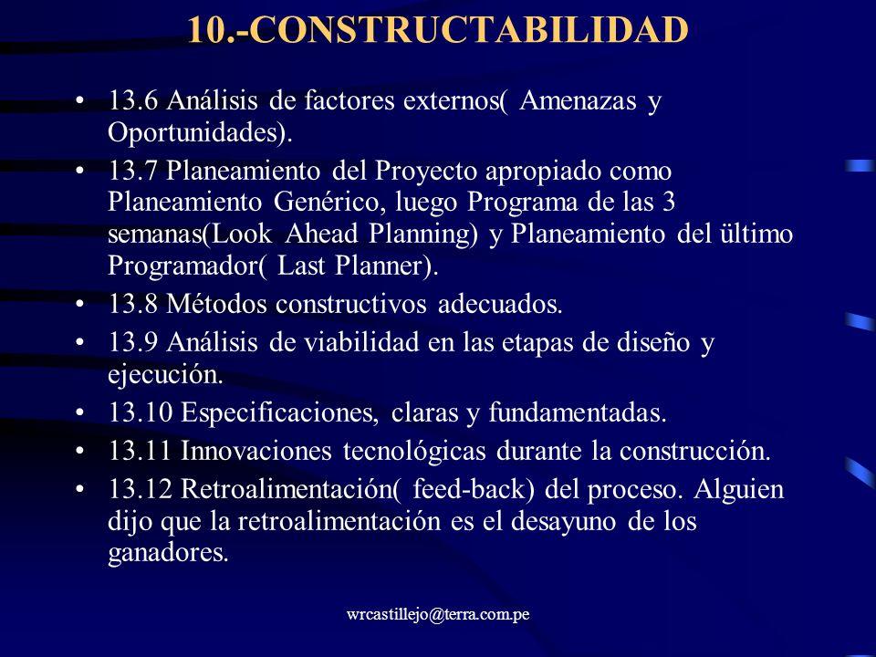 wrcastillejo@terra.com.pe 10.-CONSTRUCTABILIDAD 13.6 Análisis de factores externos( Amenazas y Oportunidades). 13.7 Planeamiento del Proyecto apropiad