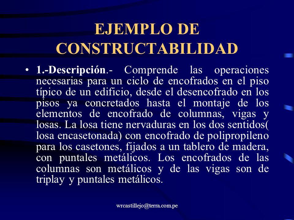 wrcastillejo@terra.com.pe EJEMPLO DE CONSTRUCTABILIDAD 1.-Descripción.- Comprende las operaciones necesarias para un ciclo de encofrados en el piso tí