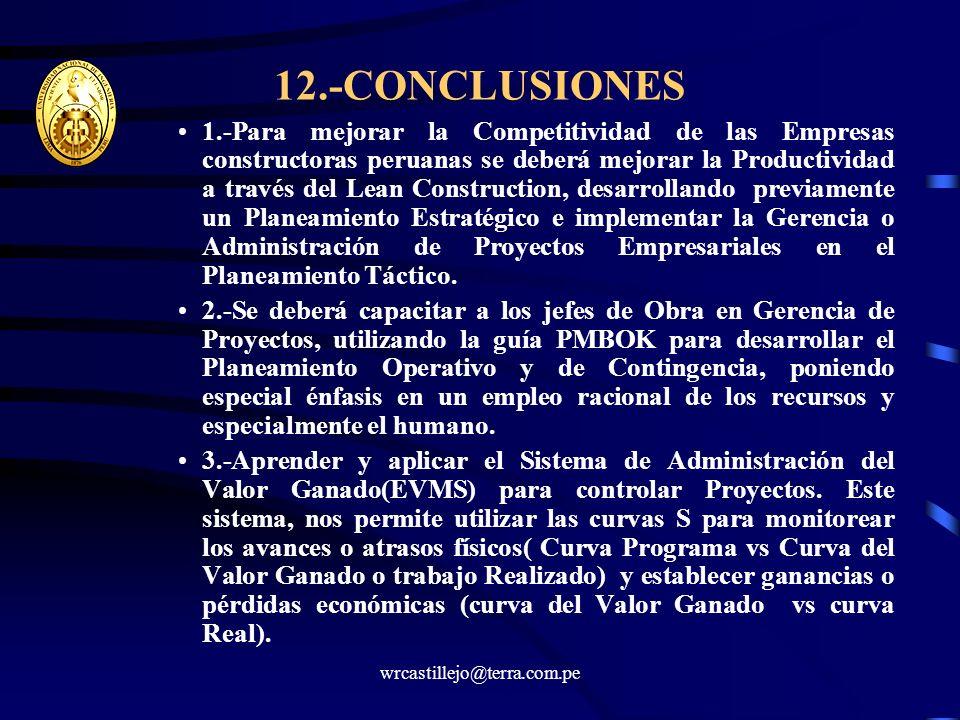 12.-CONCLUSIONES 1.-Para mejorar la Competitividad de las Empresas constructoras peruanas se deberá mejorar la Productividad a través del Lean Constru