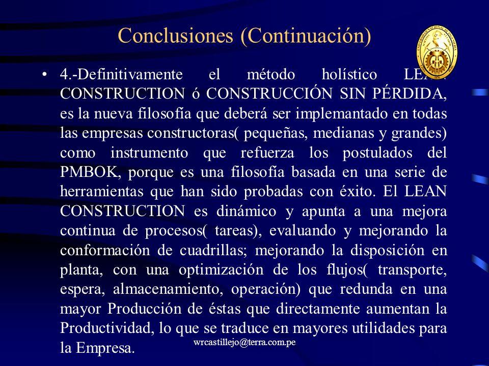 wrcastillejo@terra.com.pe Conclusiones (Continuación) 4.-Definitivamente el método holístico LEAN CONSTRUCTION ó CONSTRUCCIÓN SIN PÉRDIDA, es la nueva