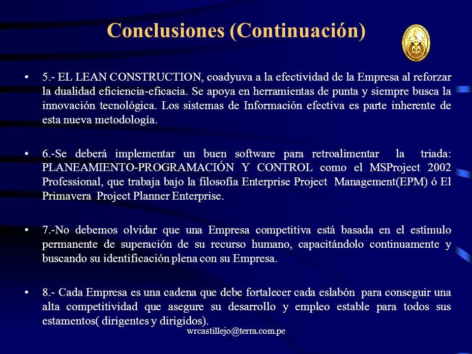 wrcastillejo@terra.com.pe Conclusiones (Continuación) 5.- EL LEAN CONSTRUCTION, coadyuva a la efectividad de la Empresa al reforzar la dualidad eficie
