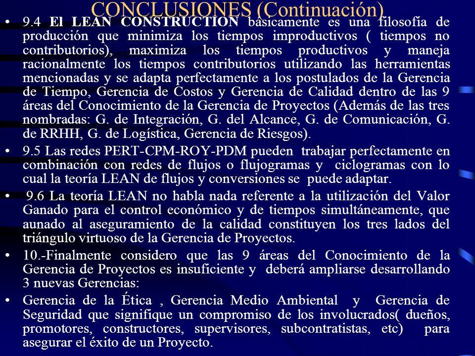 CONCLUSIONES (Continuación) 9.4 El LEAN CONSTRUCTION básicamente es una filosofía de producción que minimiza los tiempos improductivos ( tiempos no co