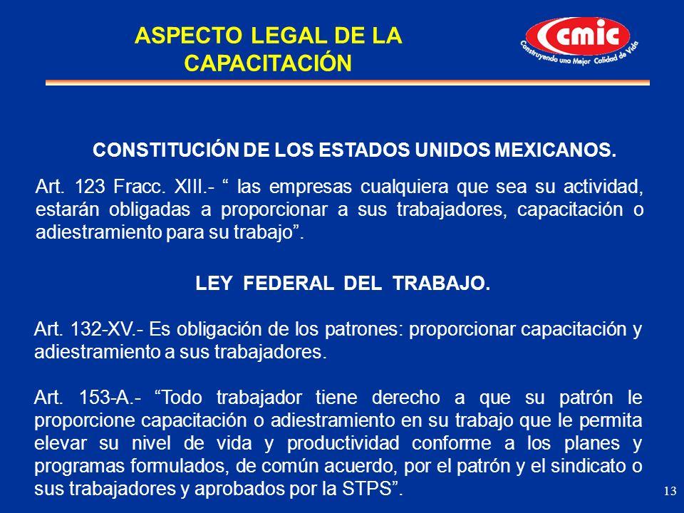 13 CONSTITUCIÓN DE LOS ESTADOS UNIDOS MEXICANOS. Art. 123 Fracc. XIII.- las empresas cualquiera que sea su actividad, estarán obligadas a proporcionar