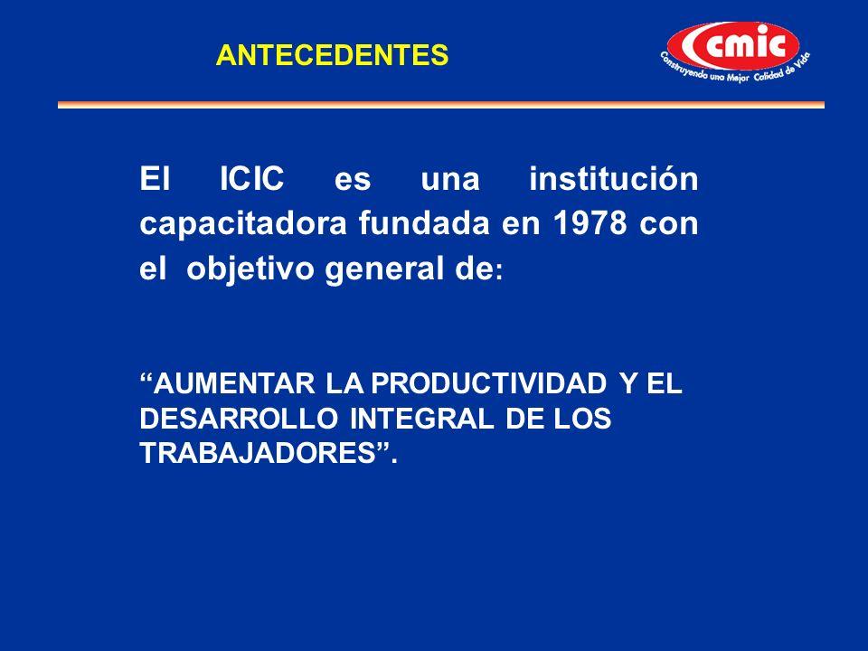 El ICIC es una institución capacitadora fundada en 1978 con el objetivo general de : AUMENTAR LA PRODUCTIVIDAD Y EL DESARROLLO INTEGRAL DE LOS TRABAJA