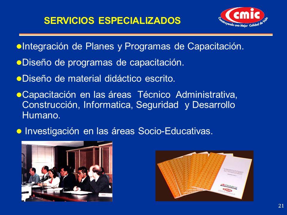 21 Integración de Planes y Programas de Capacitación. Diseño de programas de capacitación. Diseño de material didáctico escrito. Capacitación en las á