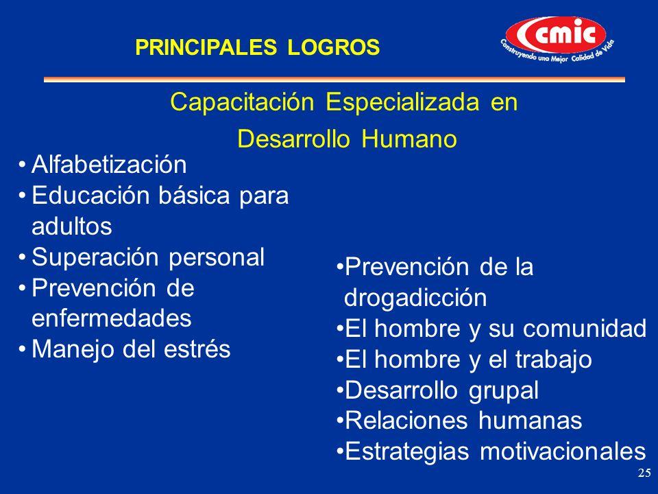 25 Alfabetización Educación básica para adultos Superación personal Prevención de enfermedades Manejo del estrés Capacitación Especializada en Desarro