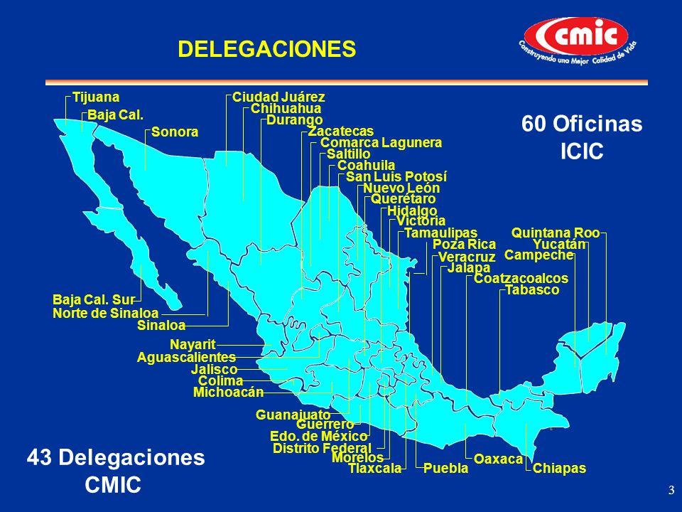 3 43 Delegaciones CMIC 60 Oficinas ICIC DELEGACIONES