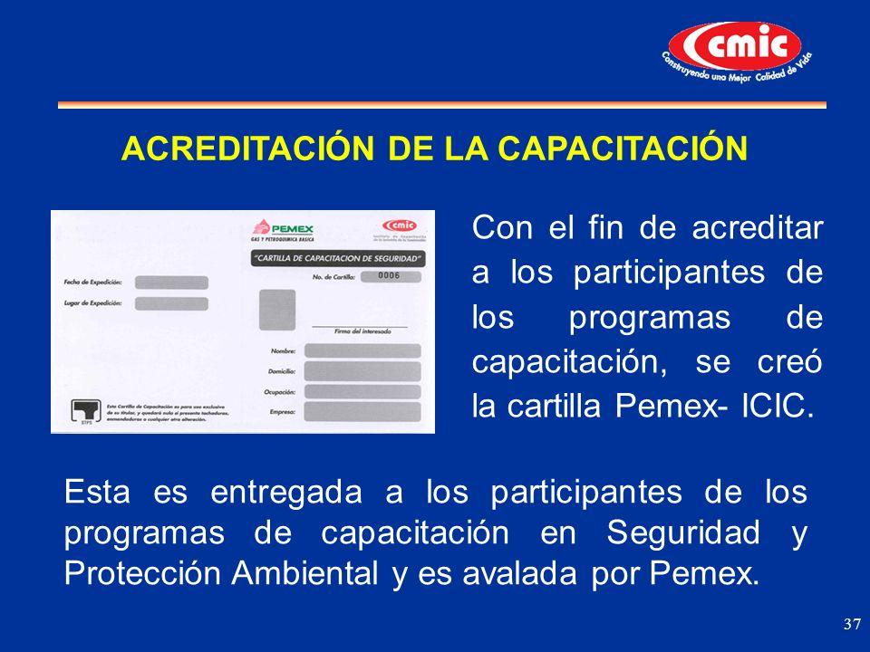 37 Con el fin de acreditar a los participantes de los programas de capacitación, se creó la cartilla Pemex- ICIC. ACREDITACIÓN DE LA CAPACITACIÓN Esta