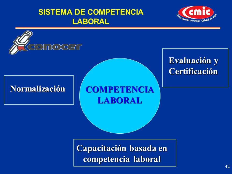42 Normalización Capacitación basada en competencia laboral Evaluación y Certificación COMPETENCIALABORAL SISTEMA DE COMPETENCIA LABORAL