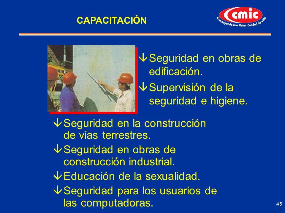 45 âSeguridad en la construcción de vías terrestres. âSeguridad en obras de construcción industrial. âEducación de la sexualidad. âSeguridad para los
