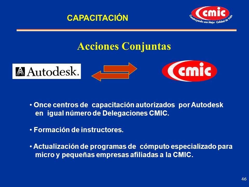 46 Acciones Conjuntas Once centros de capacitación autorizados por Autodesk en igual número de Delegaciones CMIC. Formación de instructores. Actualiza
