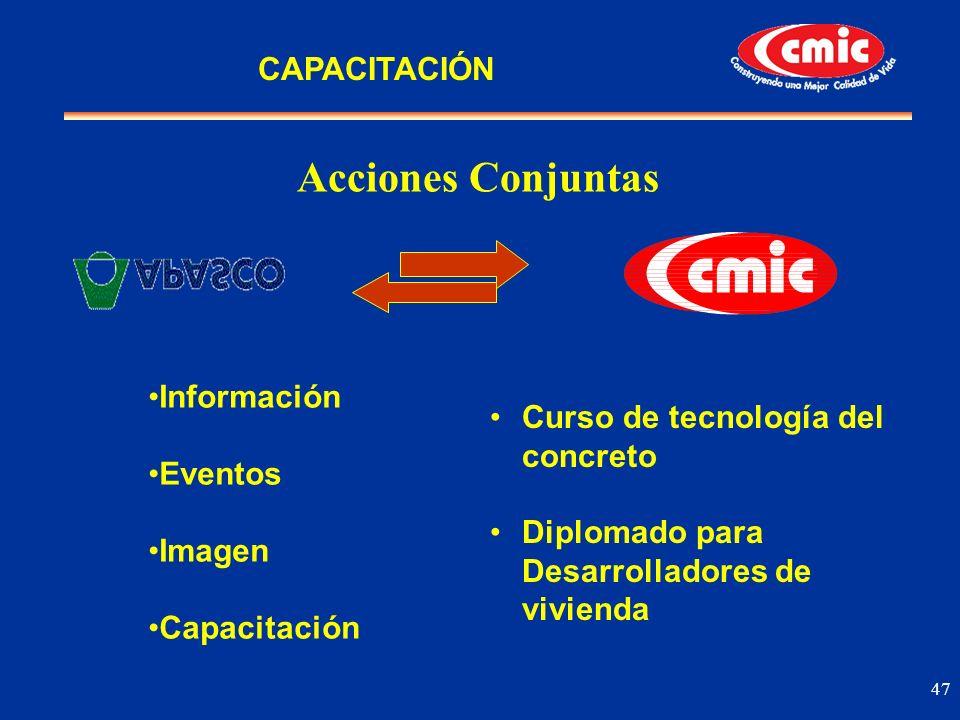 47 Acciones Conjuntas Información Eventos Imagen Capacitación Curso de tecnología del concreto Diplomado para Desarrolladores de vivienda CAPACITACIÓN