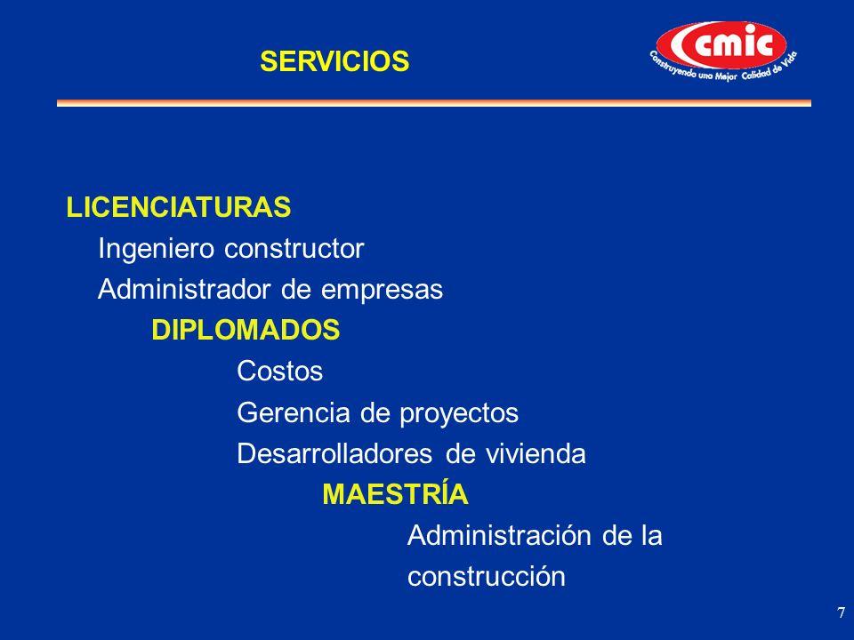 7 LICENCIATURAS Ingeniero constructor Administrador de empresas DIPLOMADOS Costos Gerencia de proyectos Desarrolladores de vivienda MAESTRÍA Administr