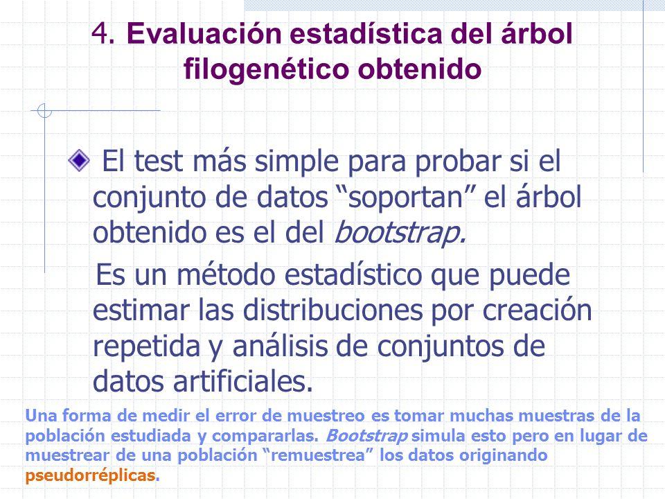 4. Evaluación estadística del árbol filogenético obtenido El test más simple para probar si el conjunto de datos soportan el árbol obtenido es el del