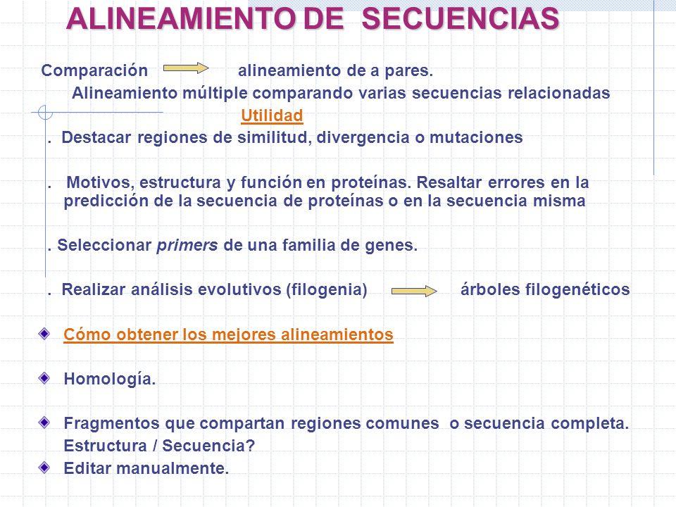 ALINEAMIENTO DE SECUENCIAS Comparación alineamiento de a pares. Alineamiento múltiple comparando varias secuencias relacionadas Utilidad. Destacar reg