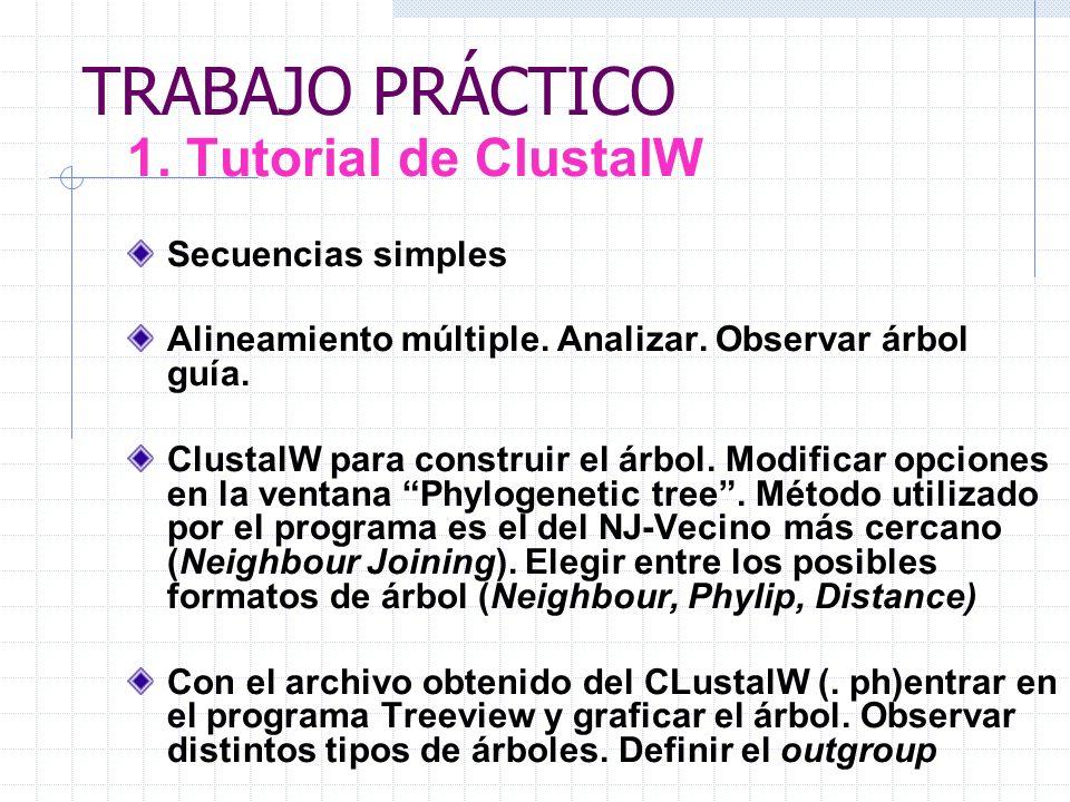 TRABAJO PRÁCTICO 1. Tutorial de ClustalW Secuencias simples Alineamiento múltiple. Analizar. Observar árbol guía. ClustalW para construir el árbol. Mo