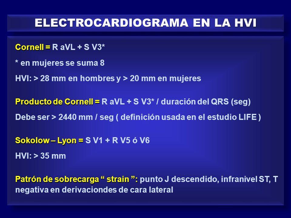 ELECTROCARDIOGRAMA EN LA HVI Cornell = Cornell = R aVL + S V3* * en mujeres se suma 8 HVI: > 28 mm en hombres y > 20 mm en mujeres Producto de Cornell