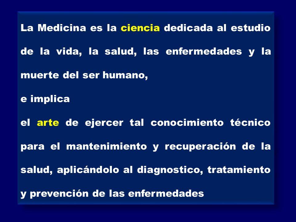 La Medicina es la ciencia dedicada al estudio de la vida, la salud, las enfermedades y la muerte del ser humano, e implica el arte de ejercer tal cono