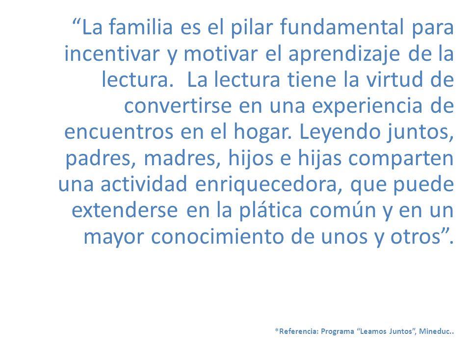 La familia es el pilar fundamental para incentivar y motivar el aprendizaje de la lectura. La lectura tiene la virtud de convertirse en una experienci