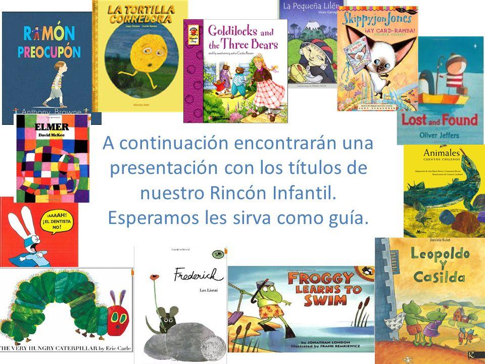 A continuación encontrarán una presentación con los títulos de nuestro Rincón Infantil. Esperamos les sirva como guía.