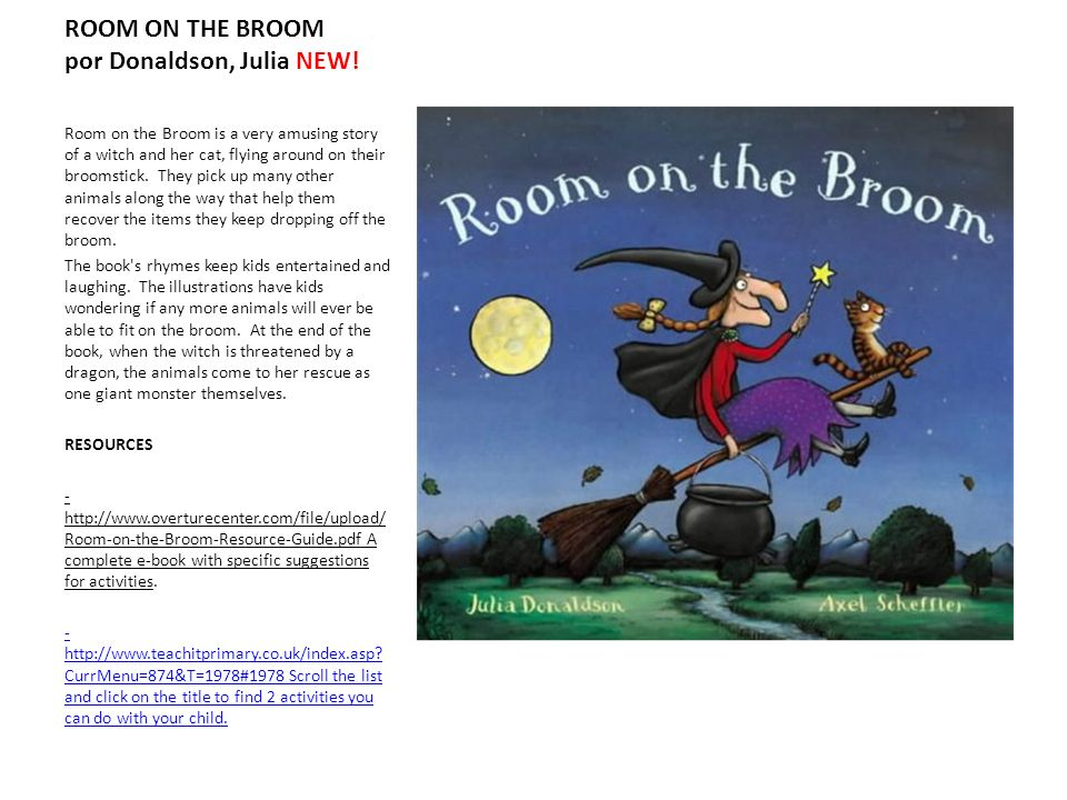 ROOM ON THE BROOM por Donaldson, Julia NEW! Room on the Broom is a very amusing story of a witch and her cat, flying around on their broomstick. They