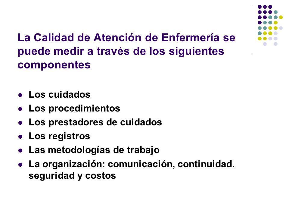 La Calidad de Atención de Enfermería se puede medir a través de los siguientes componentes Los cuidados Los procedimientos Los prestadores de cuidados Los registros Las metodologías de trabajo La organización: comunicación, continuidad.