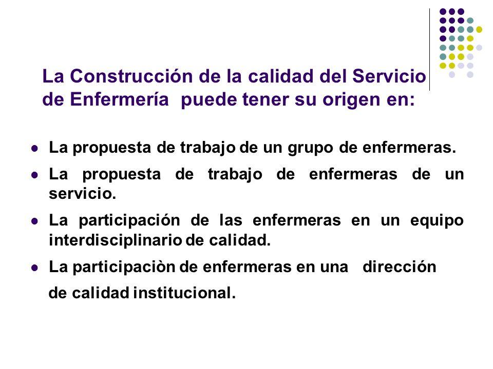 La Construcción de la calidad del Servicio de Enfermería puede tener su origen en: La propuesta de trabajo de un grupo de enfermeras.