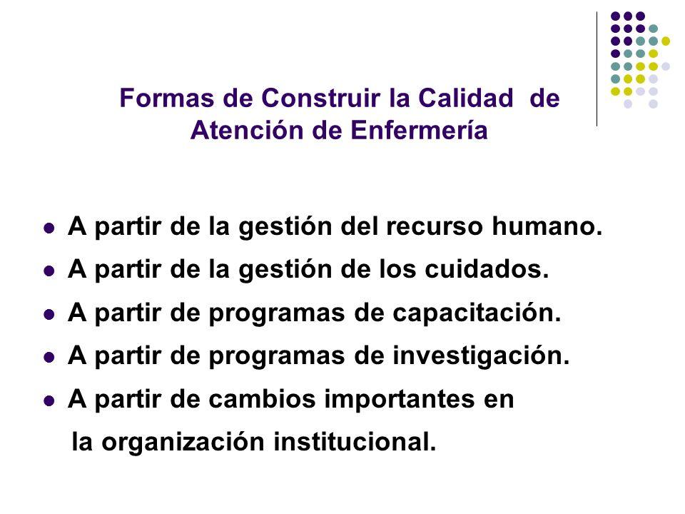 Formas de Construir la Calidad de Atención de Enfermería A partir de la gestión del recurso humano. A partir de la gestión de los cuidados. A partir d
