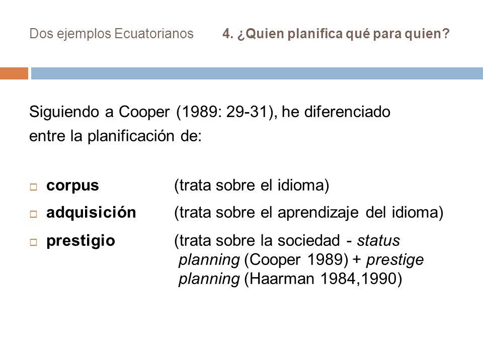 Dos ejemplos Ecuatorianos4. ¿Quien planifica qué para quien? Siguiendo a Cooper (1989: 29-31), he diferenciado entre la planificación de: corpus (trat