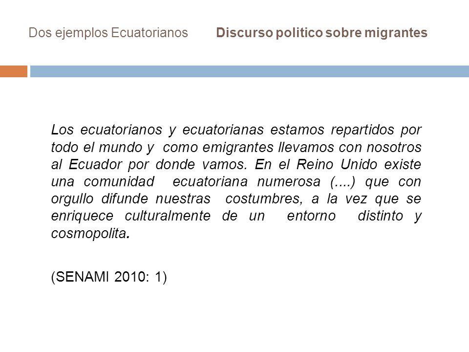 Dos ejemplos EcuatorianosDiscurso politico sobre migrantes Los ecuatorianos y ecuatorianas estamos repartidos por todo el mundo y como emigrantes llev