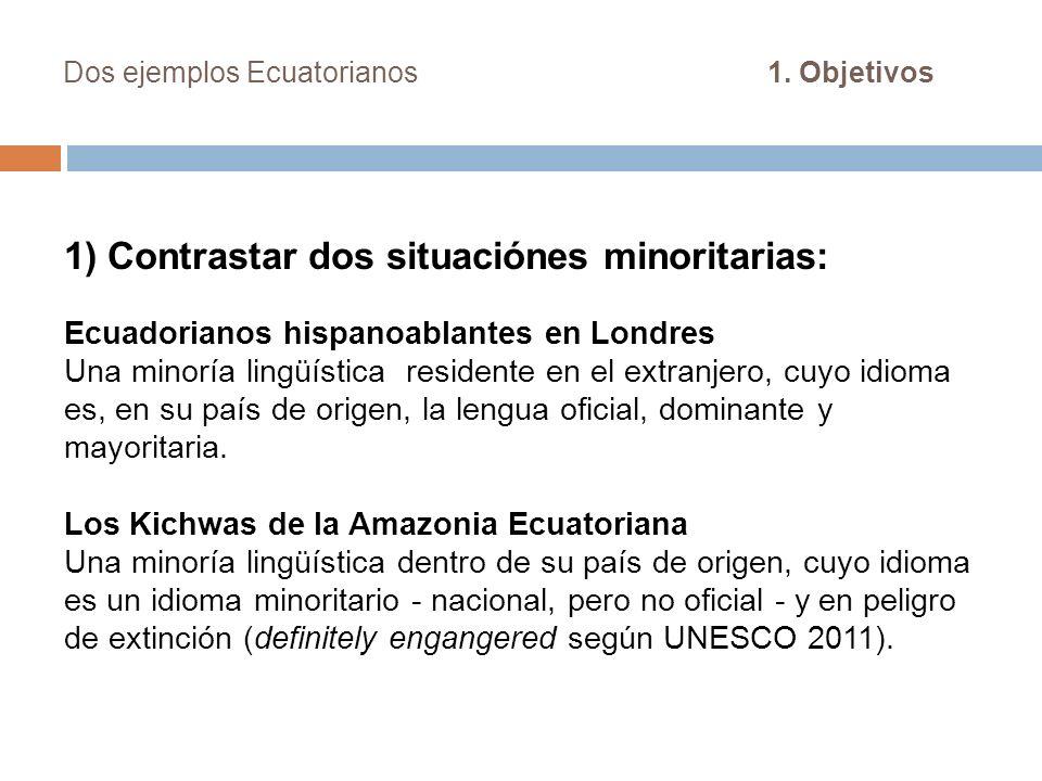 Dos ejemplos Ecuatorianos 1. Objetivos 1) Contrastar dos situaciónes minoritarias: Ecuadorianos hispanoablantes en Londres Una minoría lingüística res
