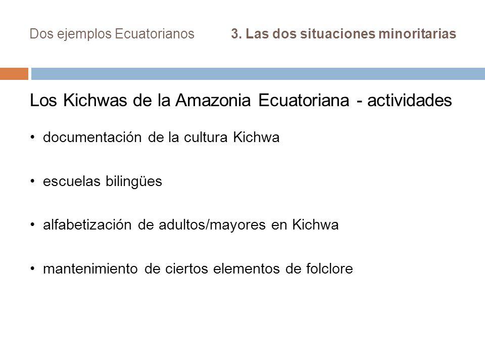 Dos ejemplos Ecuatorianos 3. Las dos situaciones minoritarias Los Kichwas de la Amazonia Ecuatoriana - actividades documentación de la cultura Kichwa