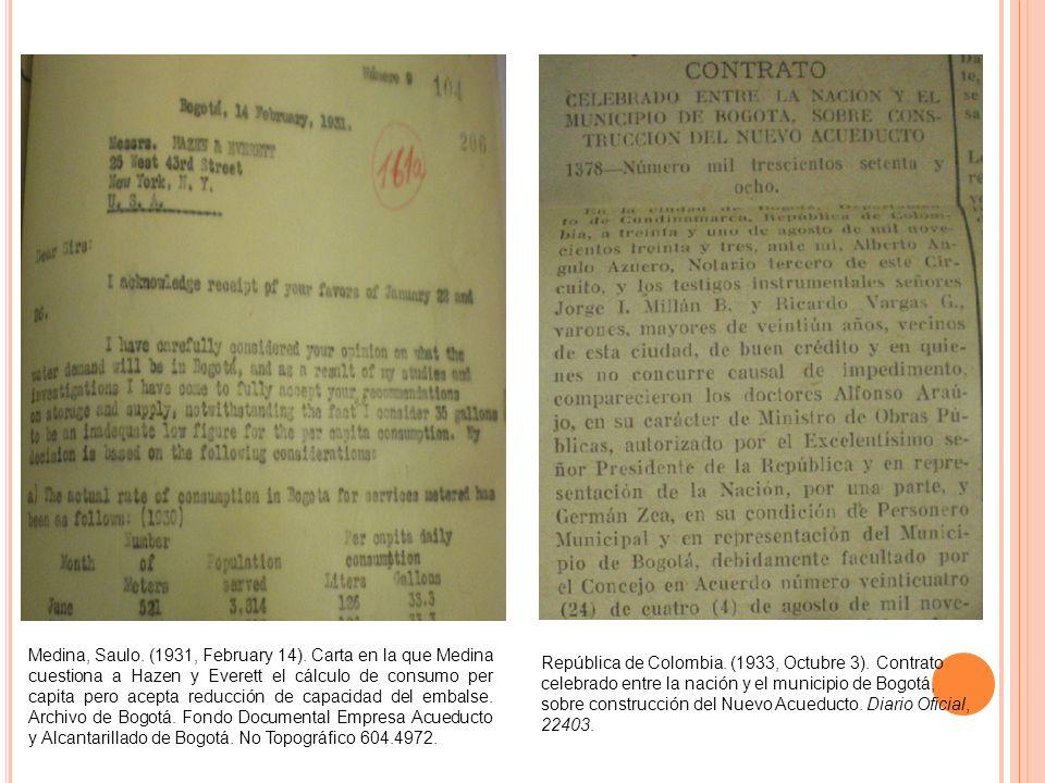 Medina, Saulo. (1931, February 14). Carta en la que Medina cuestiona a Hazen y Everett el cálculo de consumo per capita pero acepta reducción de capac