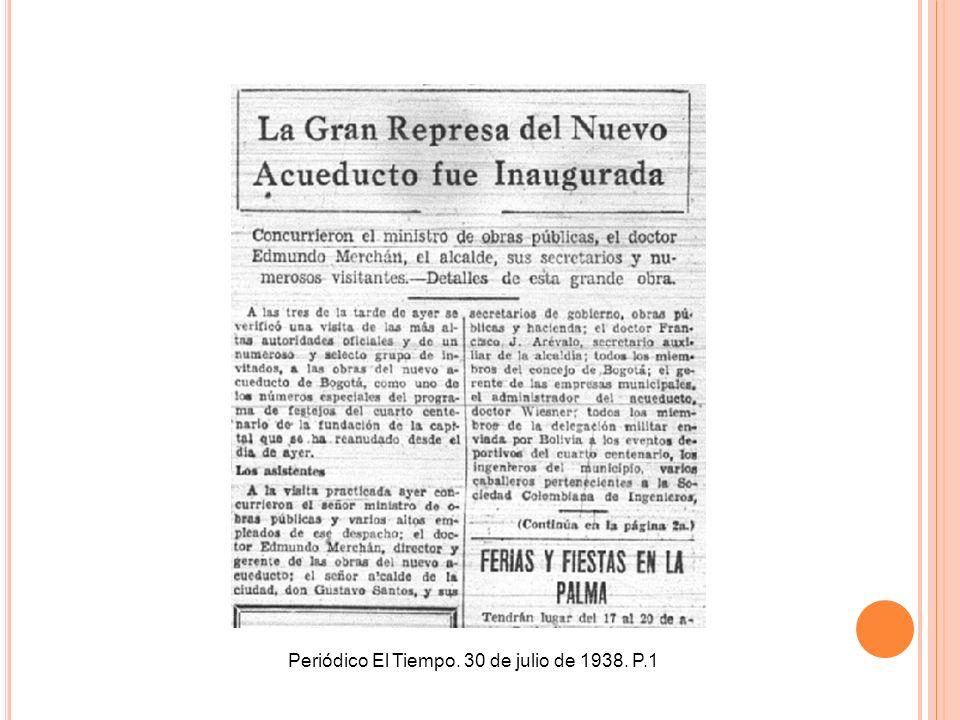 Periódico El Tiempo. 30 de julio de 1938. P.1