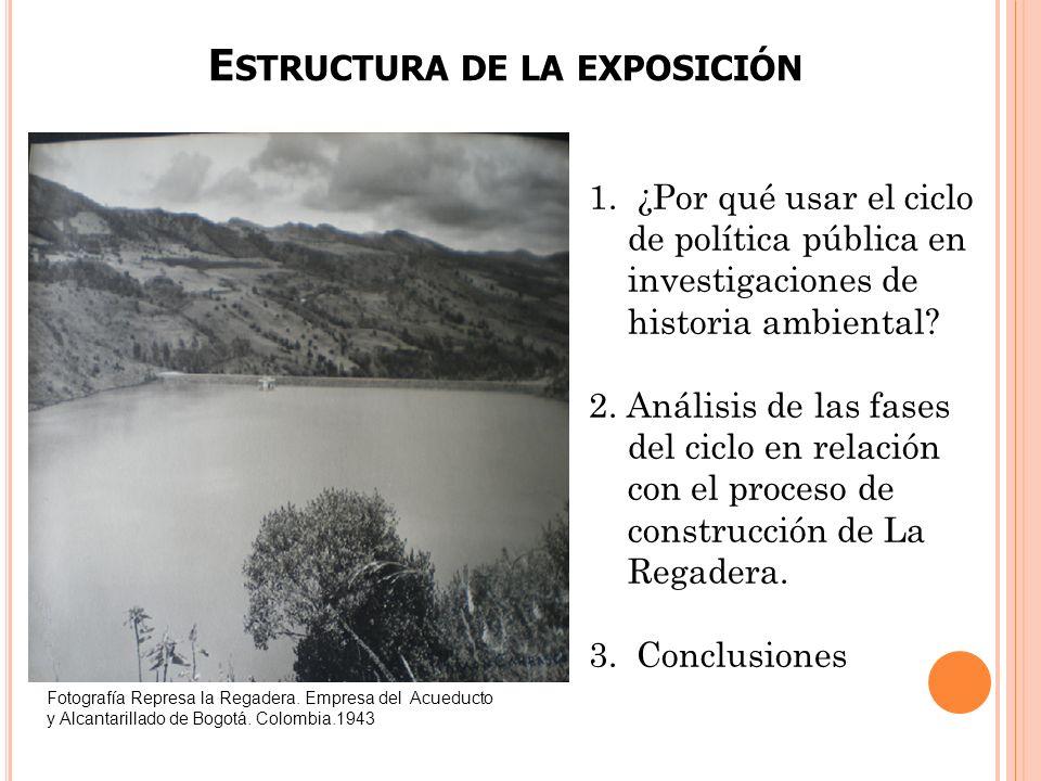 E STRUCTURA DE LA EXPOSICIÓN 1. ¿Por qué usar el ciclo de política pública en investigaciones de historia ambiental? 2. Análisis de las fases del cicl