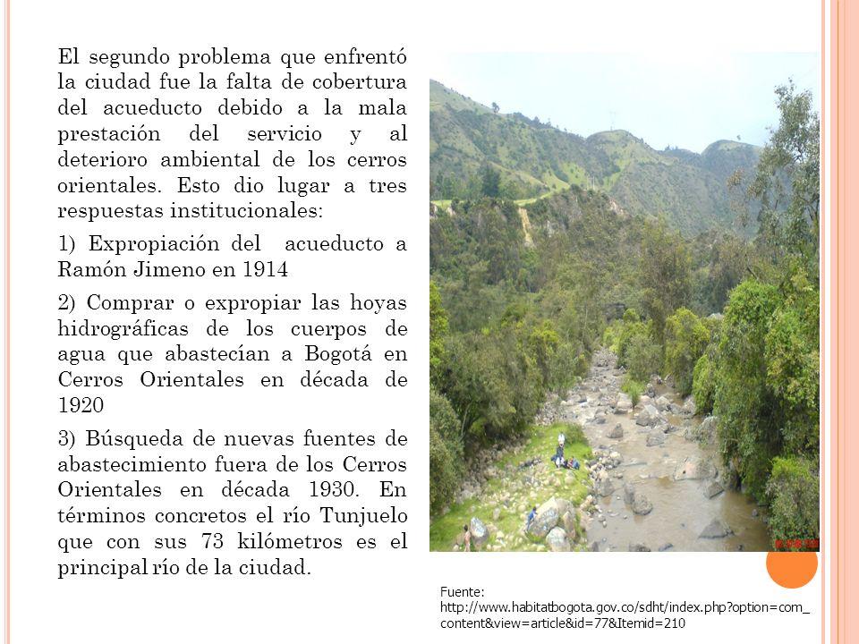 El segundo problema que enfrentó la ciudad fue la falta de cobertura del acueducto debido a la mala prestación del servicio y al deterioro ambiental d