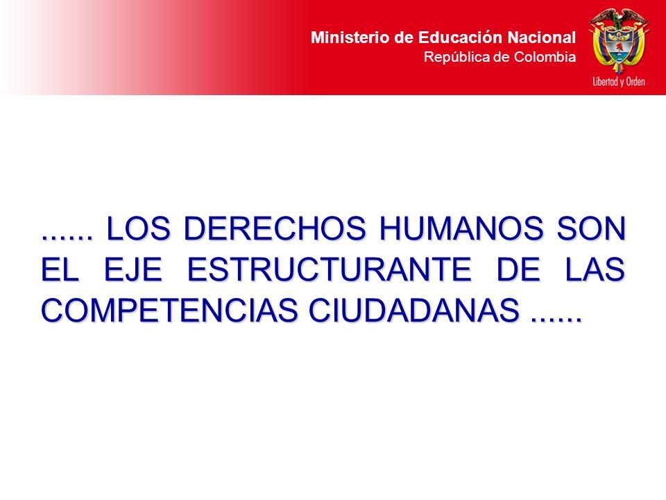 Ministerio de Educación Nacional República de Colombia...... LOS DERECHOS HUMANOS SON EL EJE ESTRUCTURANTE DE LAS COMPETENCIAS CIUDADANAS......