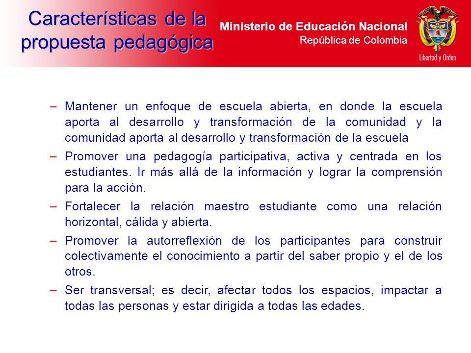 Ministerio de Educación Nacional República de Colombia –Mantener un enfoque de escuela abierta, en donde la escuela aporta al desarrollo y transformac