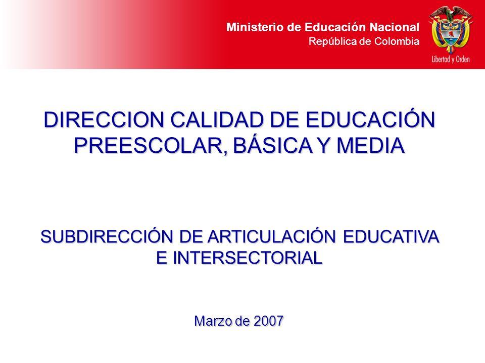 Ministerio de Educación Nacional República de Colombia DIRECCION CALIDAD DE EDUCACIÓN PREESCOLAR, BÁSICA Y MEDIA SUBDIRECCIÓN DE ARTICULACIÓN EDUCATIV