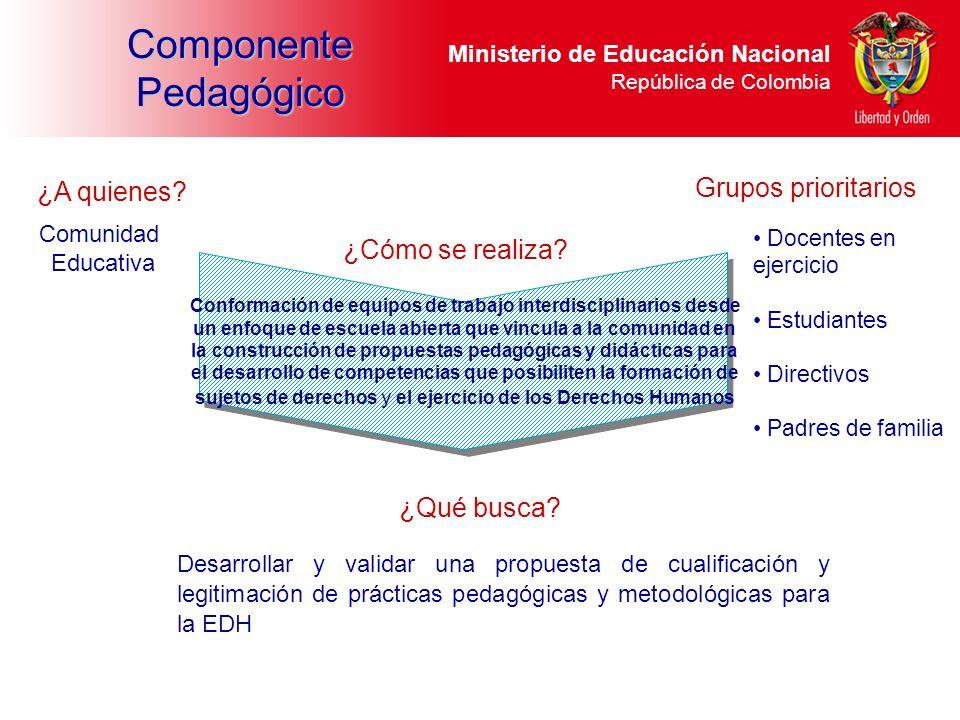 Ministerio de Educación Nacional República de Colombia Componente Pedagógico Conformación de equipos de trabajo interdisciplinarios desde un enfoque d