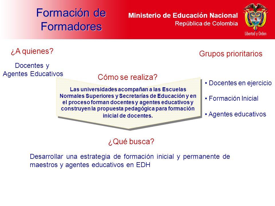 Ministerio de Educación Nacional República de Colombia Formación de Formadores Desarrollar una estrategia de formación inicial y permanente de maestro