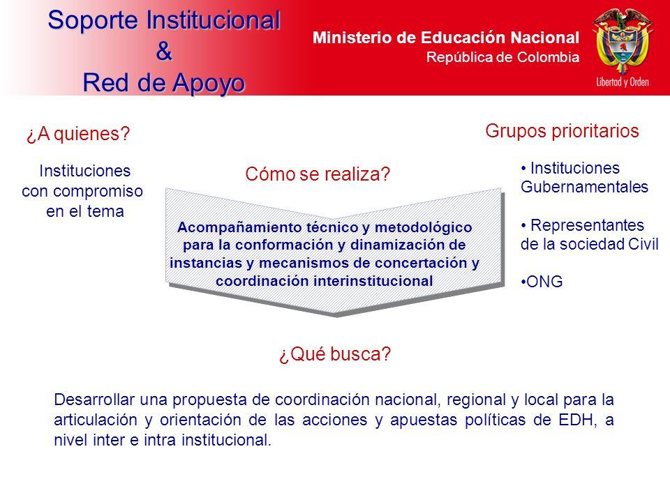 Ministerio de Educación Nacional República de Colombia Desarrollar una propuesta de coordinación nacional, regional y local para la articulación y ori